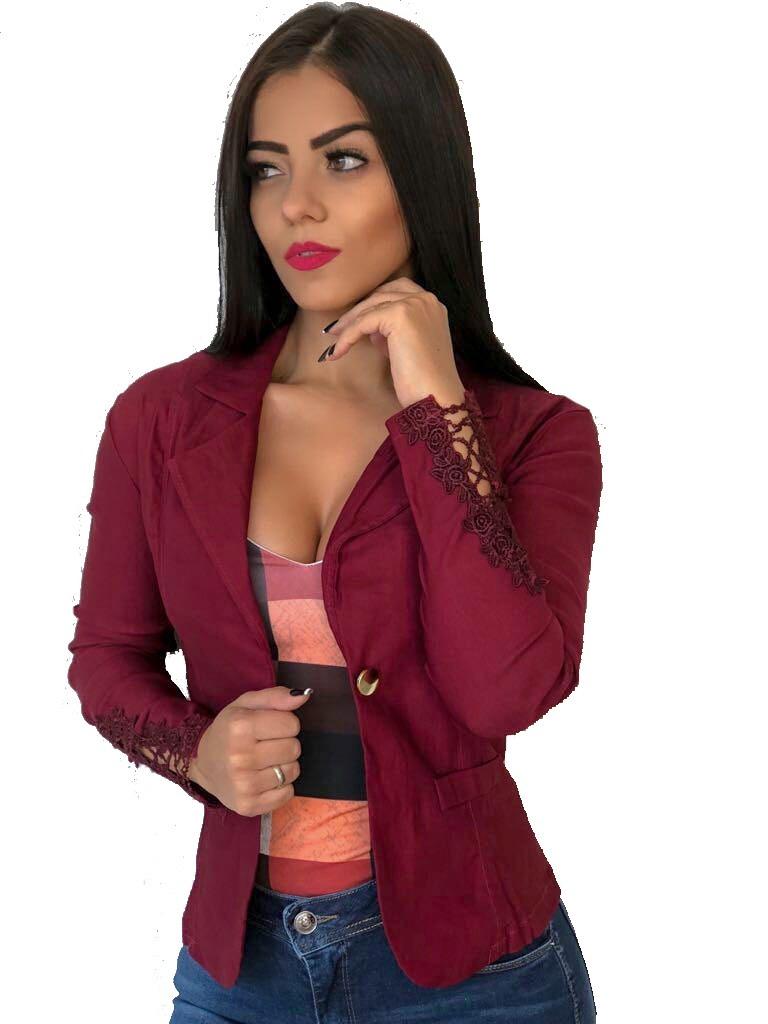 5a2d339a19 casaco casaquinho estilo blazer com renda guipir na manga. Carregando zoom.