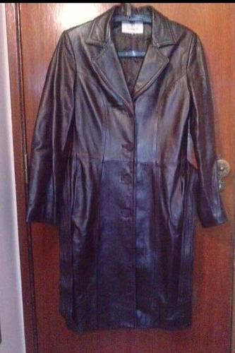 casaco castanho comprido em pele 'timberpel'