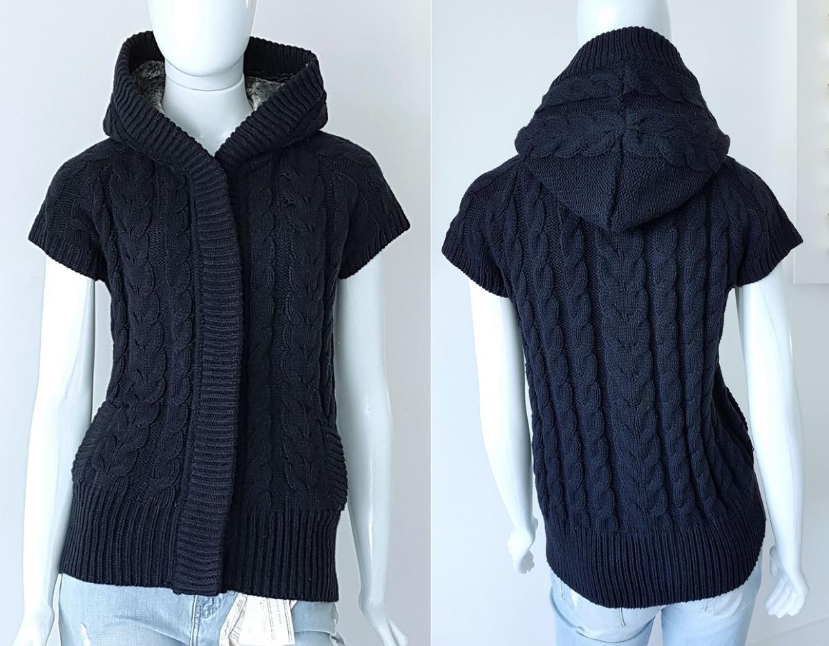 Casaco Colete Tricô Zara Knitwear Capuz Luxo Tam G Novo - R  280 ba6ff1b5b93