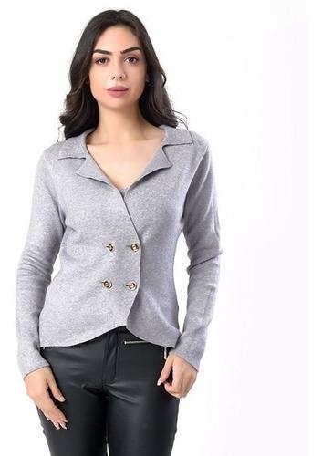 casaco com 4 botões estilo blaser feminina miss yes
