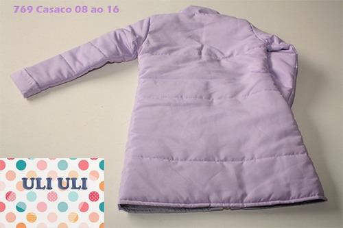 casaco comprido 8 a 16 anos -  inverno