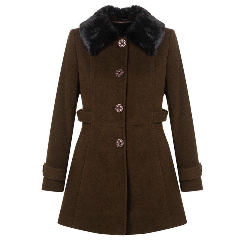 4f761406e casaco de lã malise lliso acinturado gola pele fake - marro. Carregando  zoom.
