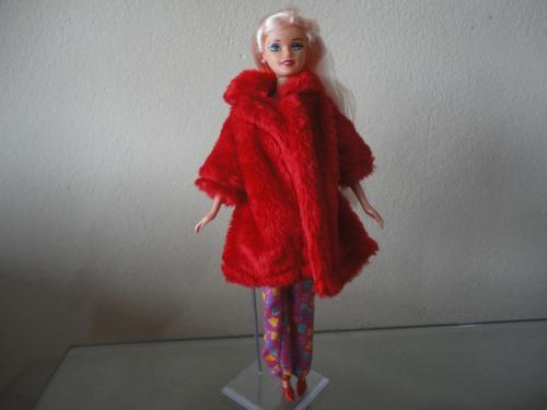 casaco de pele de luxo p/ boneca barbie - oferta