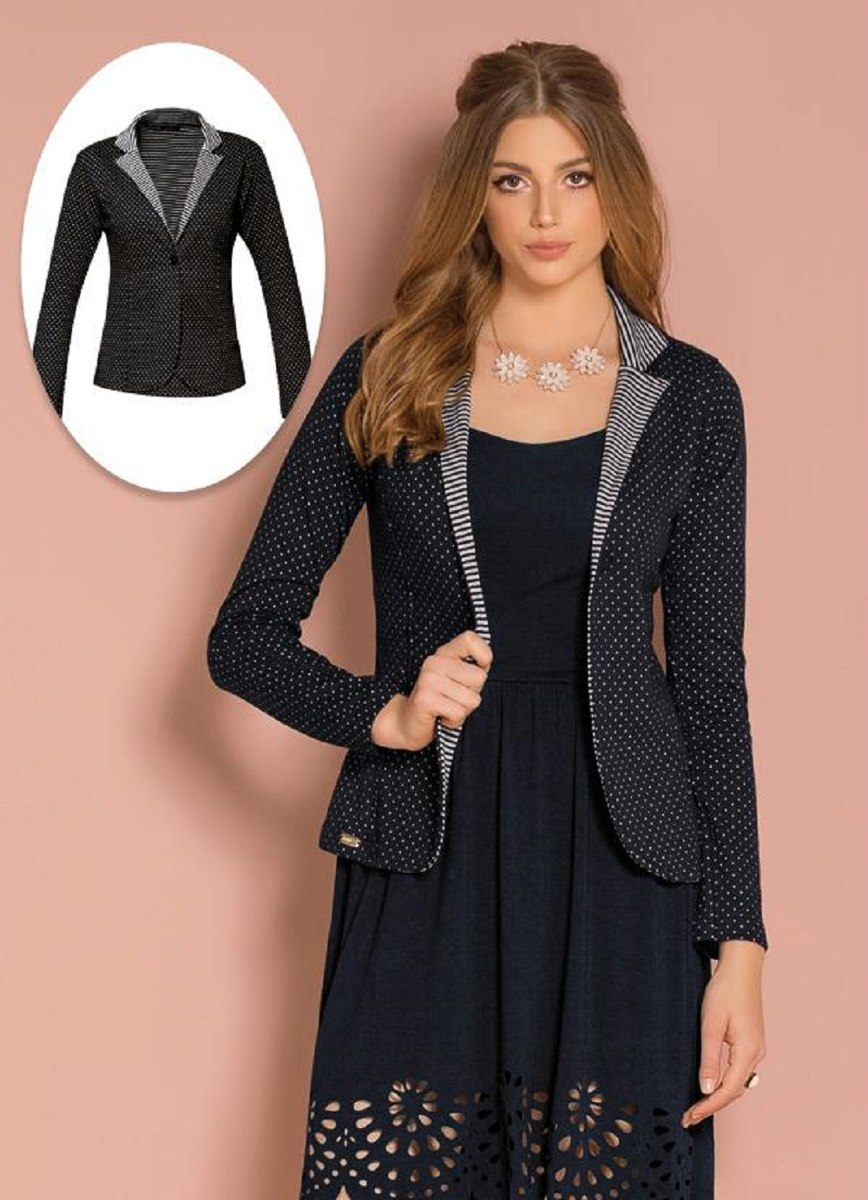 db82a787e6 casaco feminino blazer plus size poá roupas femininas. Carregando zoom.