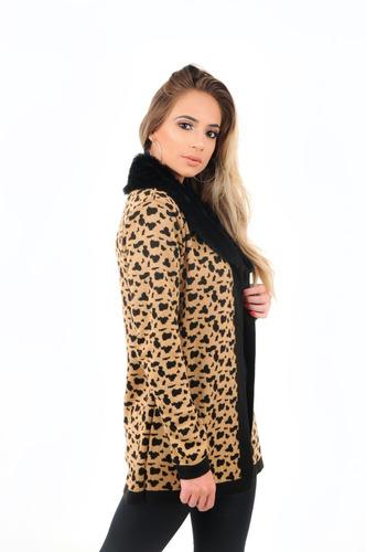 casaco feminino gola de pele animal print onça marca livora