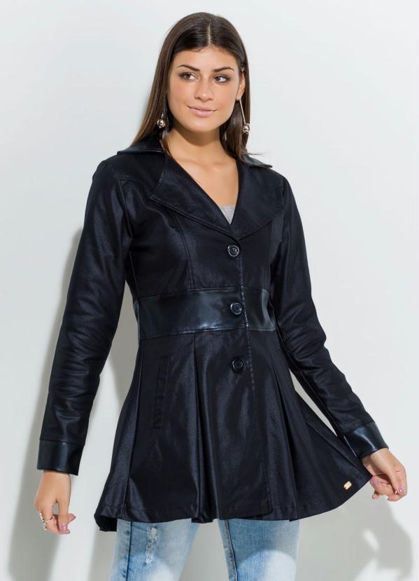 41f68752f44 casaco feminino sobretudo preto acinturado resinado botões. Carregando zoom.