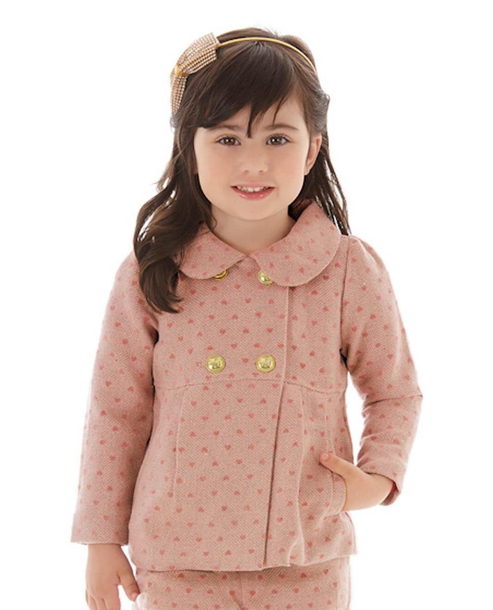 552a2a58eb casaco infantil em lã acinturado rose com brilho hello kitty. Carregando  zoom.