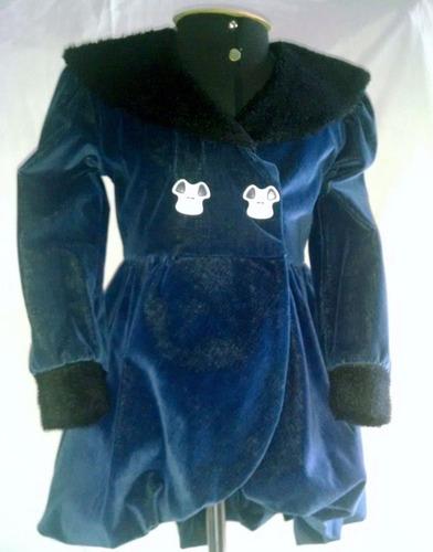 casaco infantil veludo azul