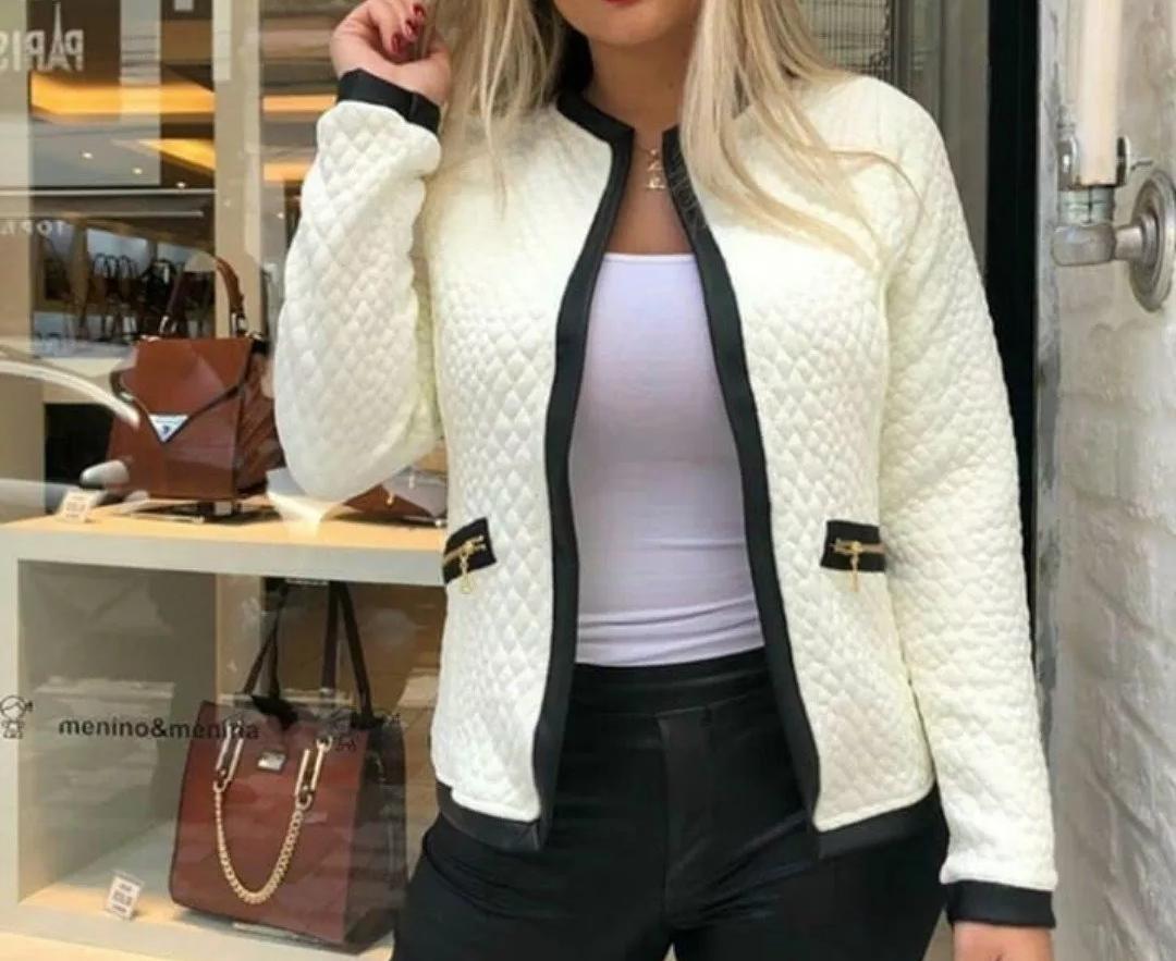 bcc6480c9 Casaco Jaqueta Moda Feminino Jacquard Outono Inverno 2019 - R$ 55,00 ...