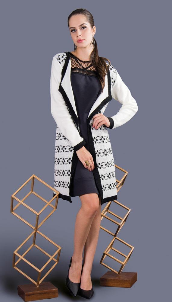 0df0b500b1be5b Casaco Longo Tricot Fashion Jacquard Gola Alfaiataria 2018