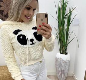 65ad1c448c Casaco Moletom Cropped Panda Capuz Pelinho Grosso Inverno