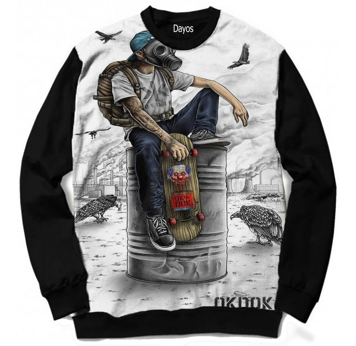 Casaco Moletom Skate Desenho Rap Music Swag Tumblr Moda Frio R