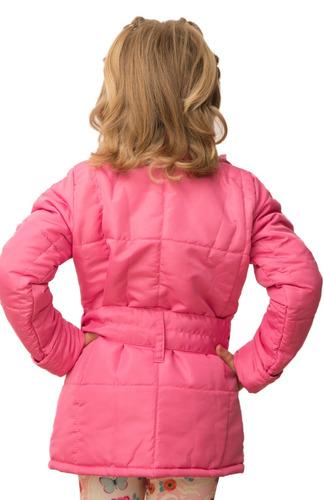 casaco parka infantil e juvenil  com cinto - inverno