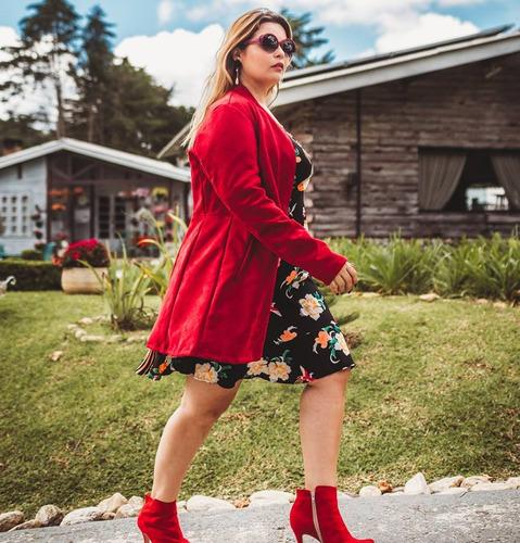 casaco suede plusize chick roupas femininas inverno