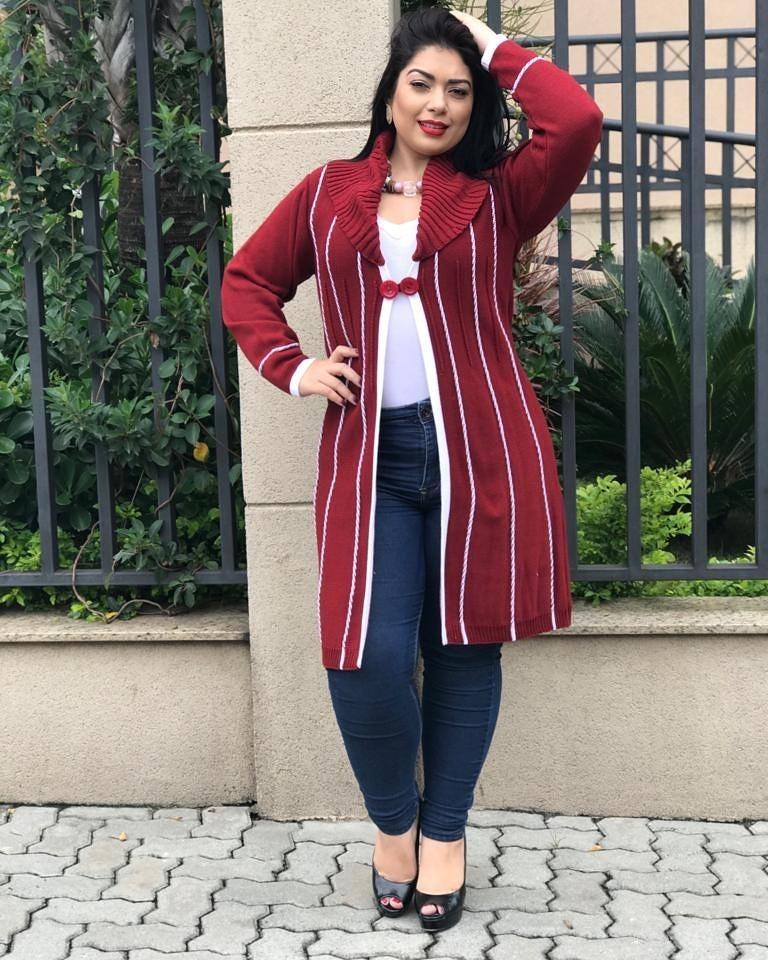 66b6b9cf02 casaco tricot lã plus size blusa sobretudo frete grátis. Carregando zoom.
