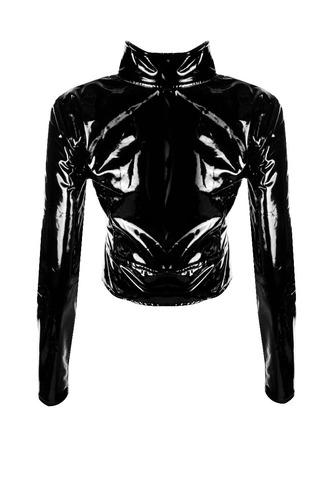 casaco vinil curto ziper frontal jaqueta sem forro rock