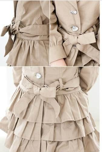 casacotrench coat infantil babados com faixa  forrado 100%