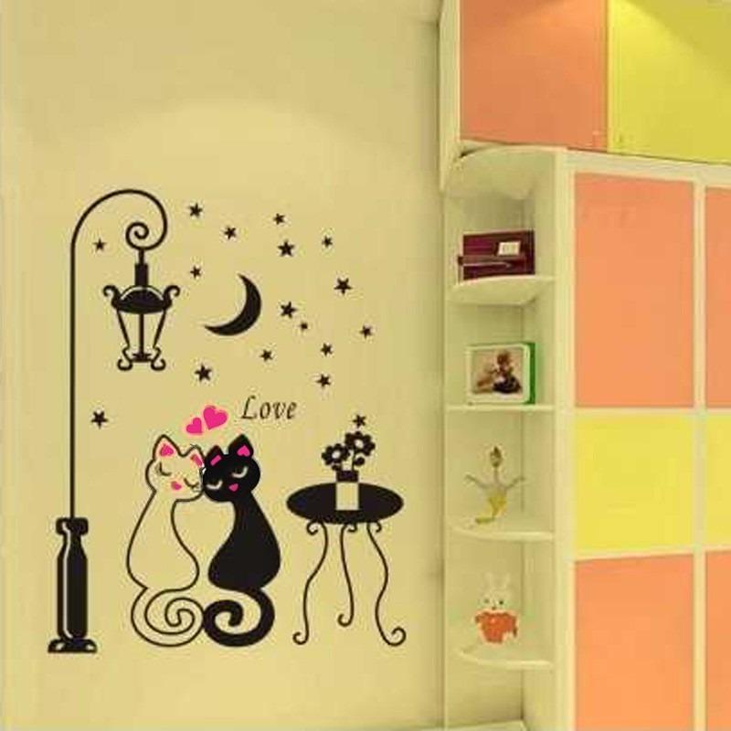 Casais Bonitos Gatos Desenhos Animados Adesivo De Parede Cri R