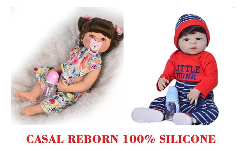 casal bebe reborn 57cm corpo todo de silicone