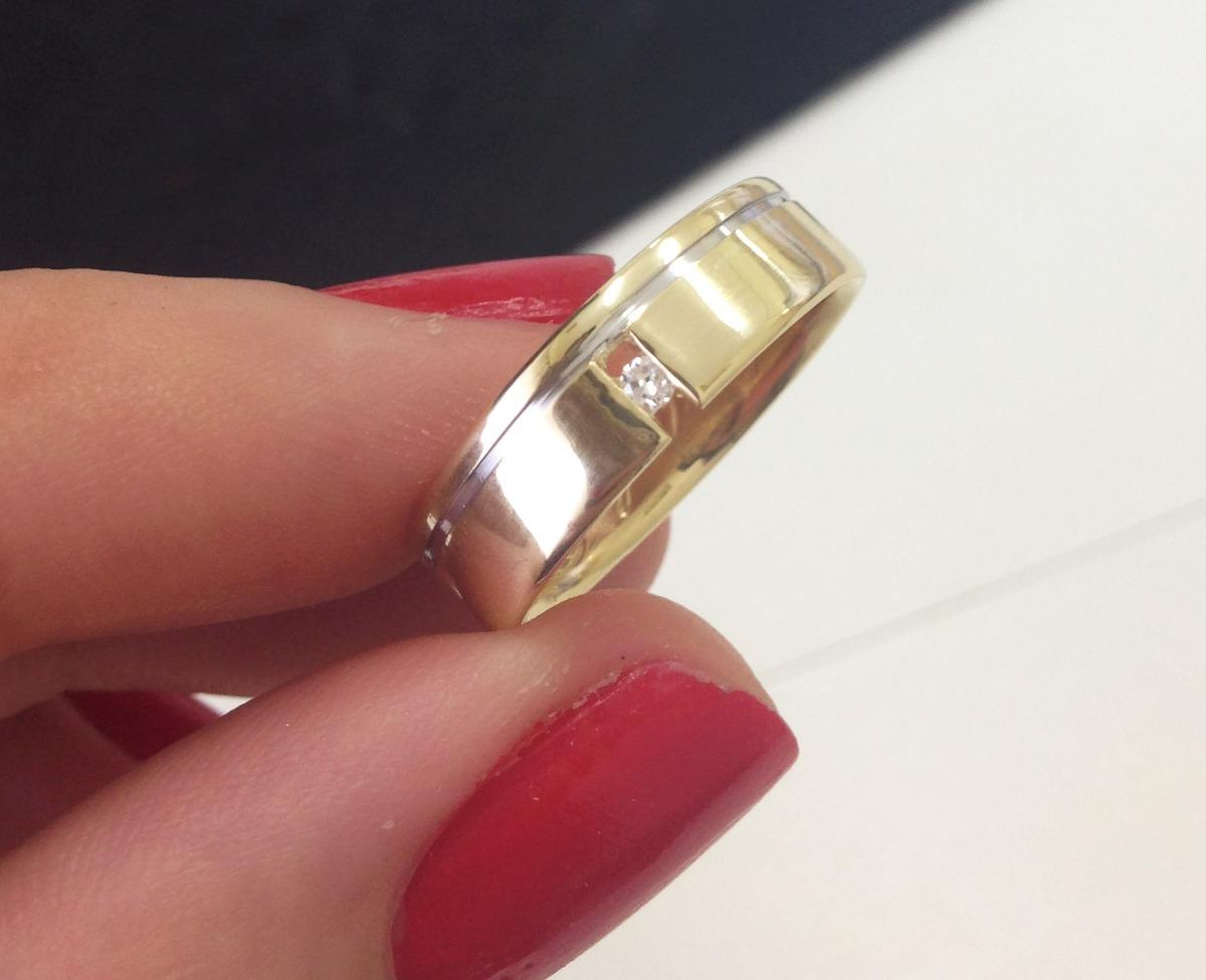 c8885f1872a Par De Alianças De Casamento Ouro Diamante Flutuante. - R  2.990