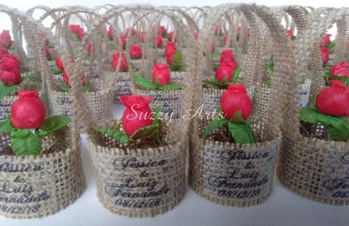 casamento rústico - kit 30 lembrancinha cestinho com 1 flor