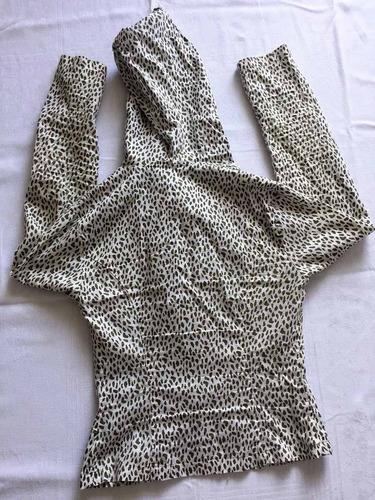 casaqueto feminino com capuz animal print mercatto tam.p