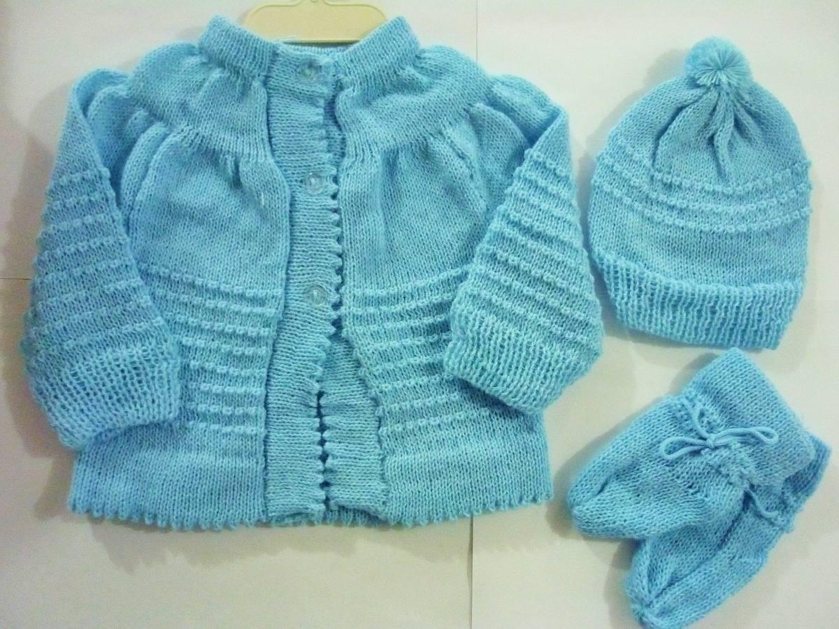 Casaquinho De Lã - Recém Nascido (com Touca E Sapatinho) - R  28 b1593b3fc88