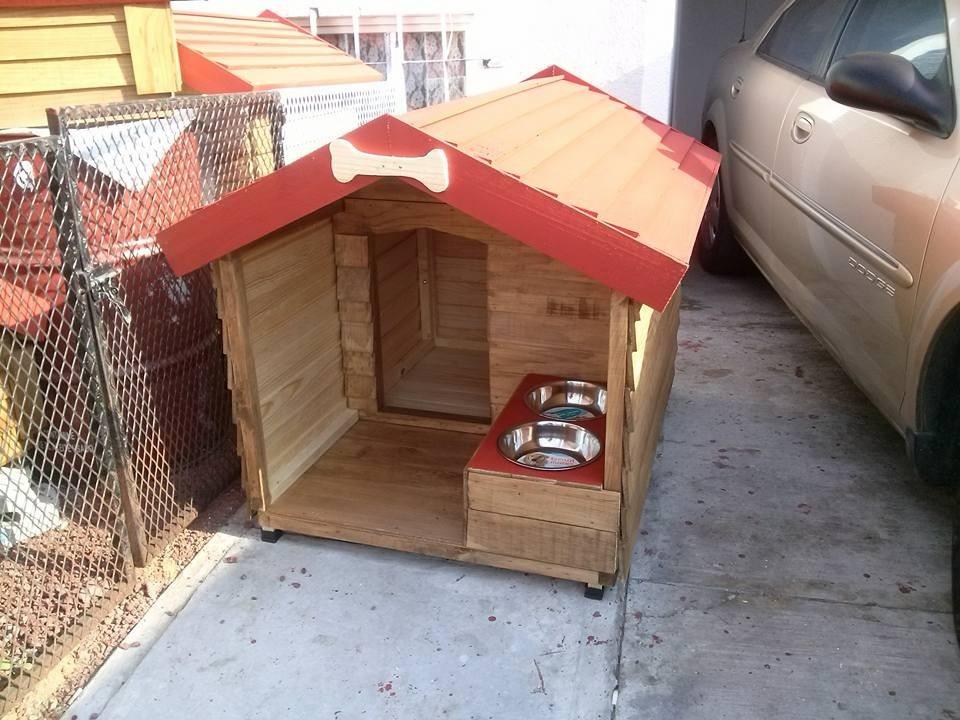 Casas de madera para mascota pet house jumbo con tazones 3 en mercado libre - Mini casas de madera ...
