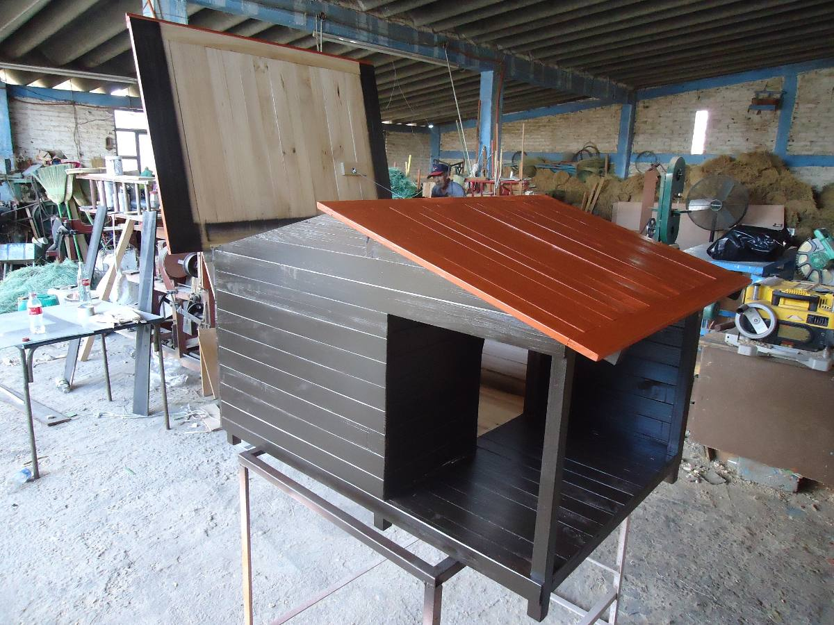 Casas para perro de madera natural no 3 con terraza - Casas para perros con palets ...