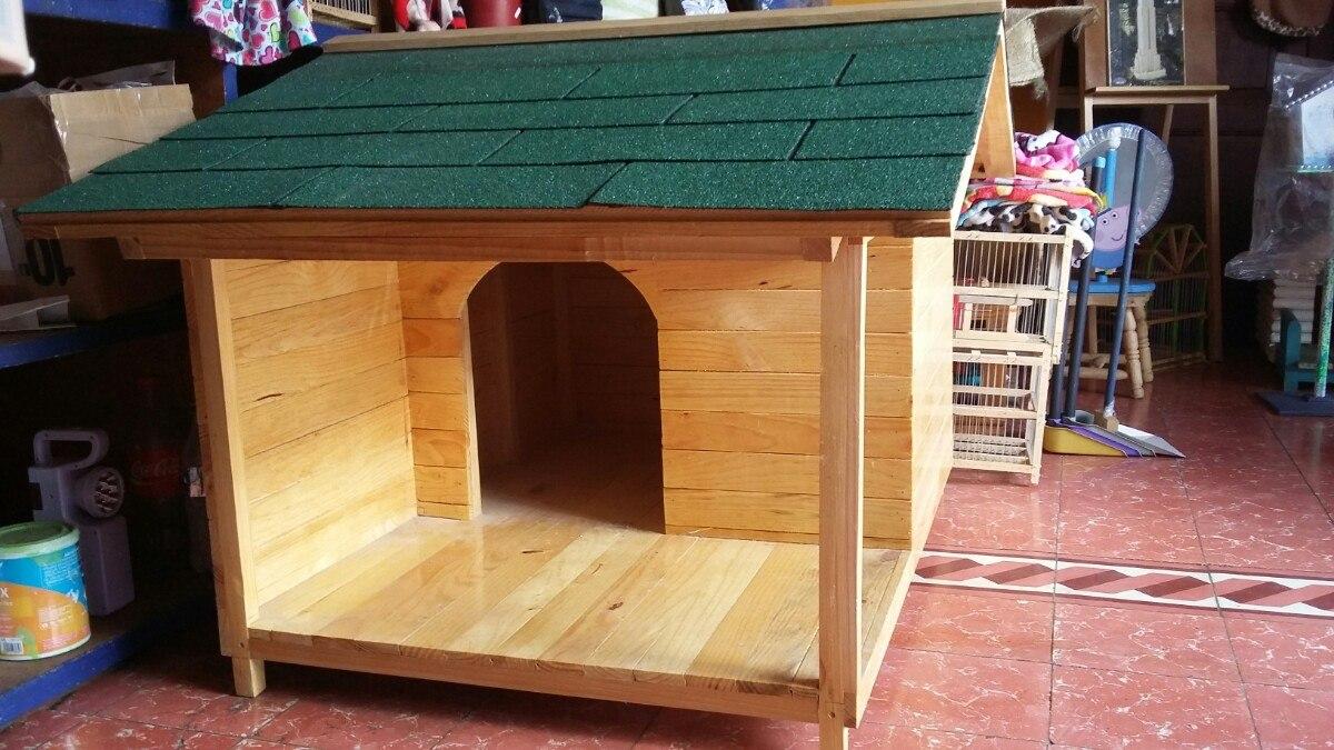 Casas para perro de madera natural no 3 con terraza for Construir casa de perro