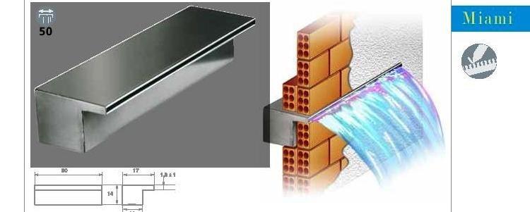 Cascada fuente para piscina de fibra de vidrio bs 60 for Como hacer una pileta de jardin