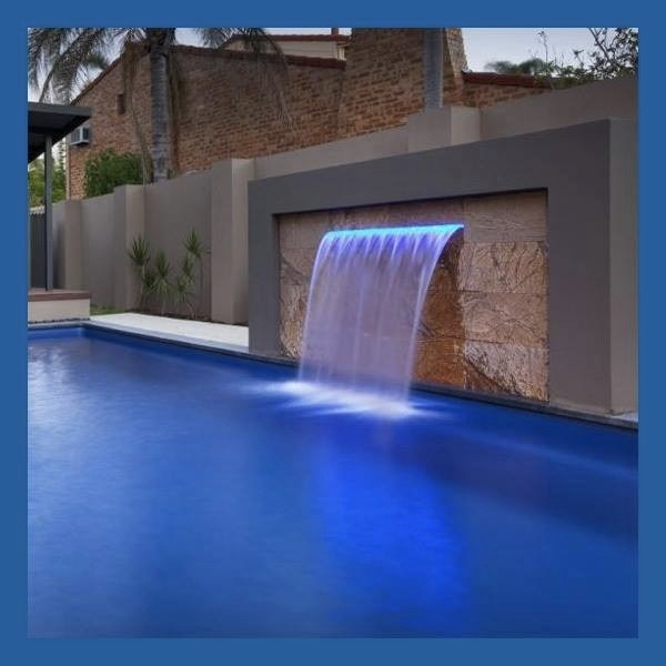 Cascada led a colores para albercas piscinas 90 cm for Cascadas artificiales de agua para piscinas