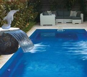 cascadas curva cm fuente para piscina en fibra de vidrio