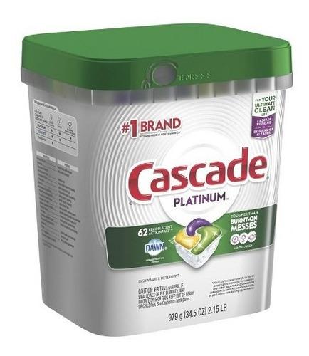 cascade platinum actionpacs lavavajillas detergente 62 pcs