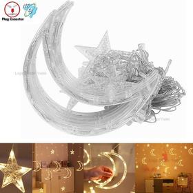 Cascata 138 Led Natal Estrela Lua Decoração 8 Funções 4,3m