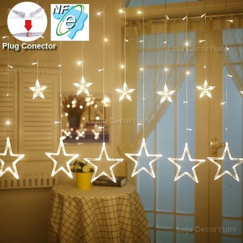 cascata 138 led natal estrela lua decoração 8 funções veja!