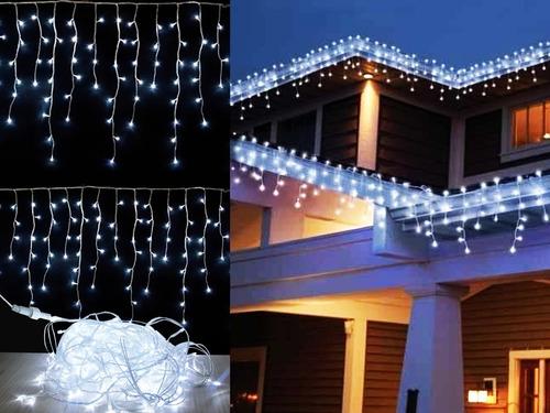 cascata 200 leds branca fria 5m 110v ou 220v decoração fixa