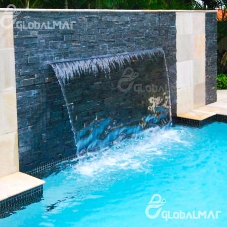 Cascata de embutir com bico inox 120cm para piscina fonte - Piscina a cascata ...