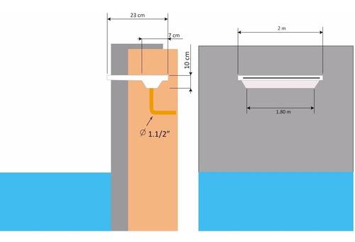 cascata de embutir parede 100cm com led rgb com fonte