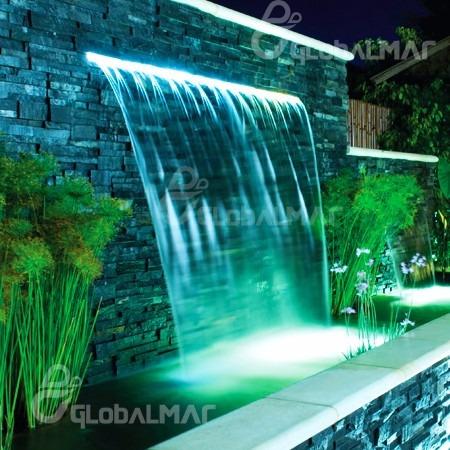 cascata de piscina 2 metros c led rgb piscina embutir parede