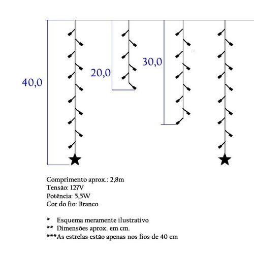cascata natal 100 led 110v c/ estrela fixo branco 2,8mx40cm