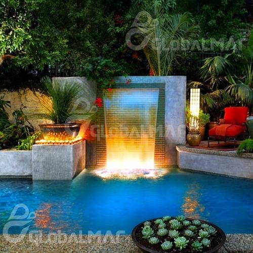 cascata para embutir parede de piscina com led 180cm em inox