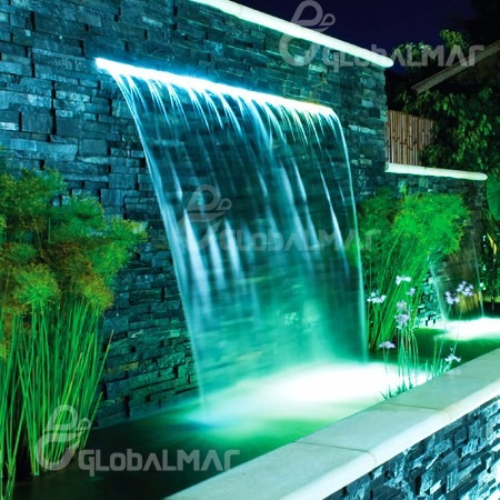 cascata para piscina com iluminação led 80cm para embutir