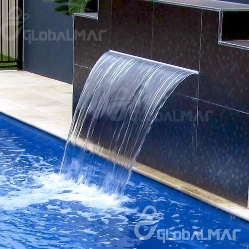 cascata piscina embutir parede bico inox 80cm