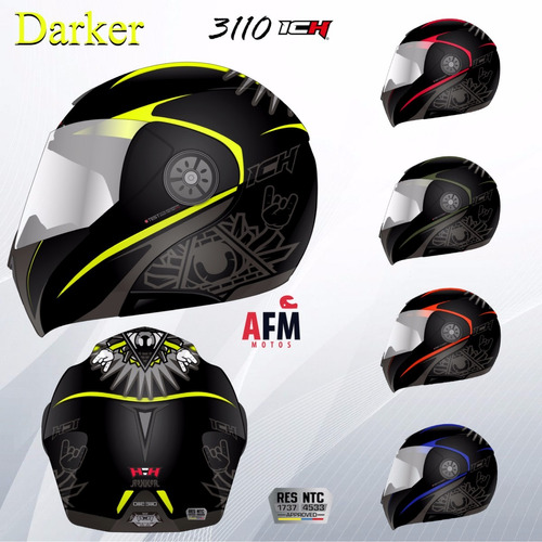 casco abatible doble visor certificado ich 3110  + eco regal