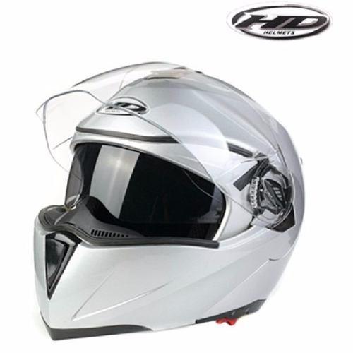 casco abatible doble visor lentes de sol polarizados blanco