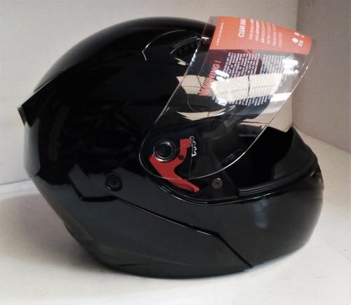 casco abatible r7 negro brillante doble mica (talla xl)