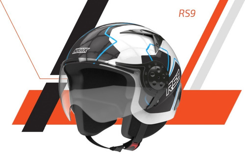 casco abierto con visor hawk rs9  blanco en shopping bike