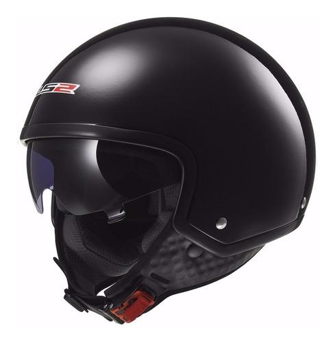 casco abierto ls2 561 wave negro brillo visor devotobikes