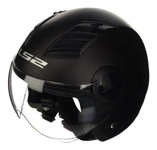 casco abierto ls2 airflow solid of562 negro/mate 2019
